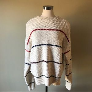 Vintage Woolrich Cream Multi Stitch Stripe Sweater